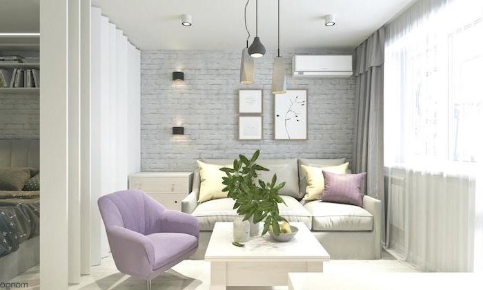 purple armchair, white sofa, how to decorate a small living room, white wooden coffee table, brick wall