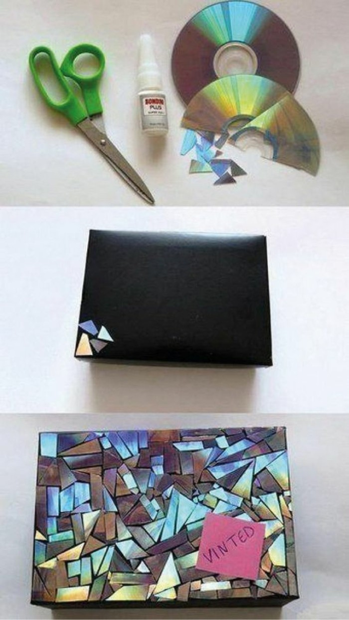 black box, cd pieces glued to it, homemade christmas gifts for adults, step by step, diy tutorial