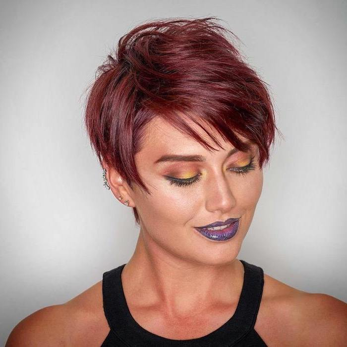 red hair, pixie cut, black top, short haircuts for older women, white background
