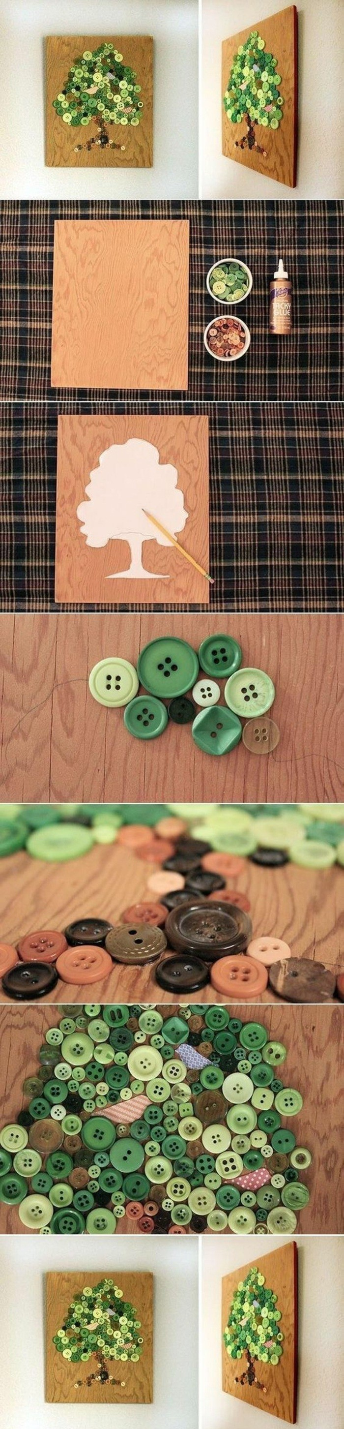 wooden board, green and brown buttons, forming a tree, unique wall decor, step by step, diy tutorial