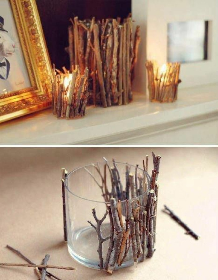 candle holder, glass vase, covered in tree branches, homemade christmas gifts for adults