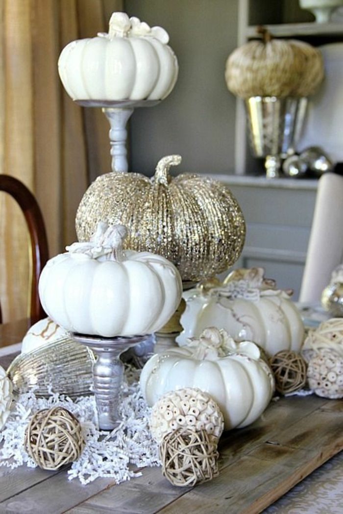 candle holders, white and gold, ceramic pumpkins, table setting images, wooden table, rustic style