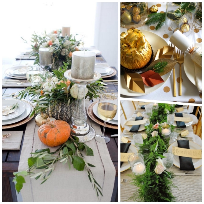photo collage, fall flower arrangements, greenery and flowers, table runners, different table settings