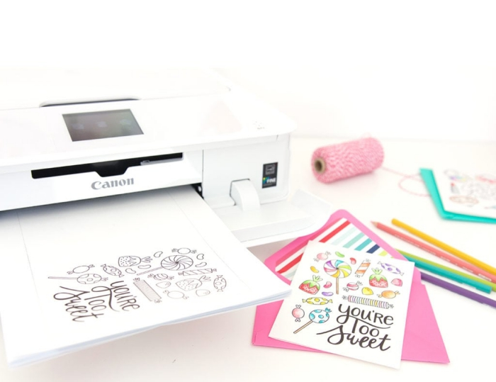 canon printer, pink envelope, handmade cards, you're the best, greeting card, colourful pencils