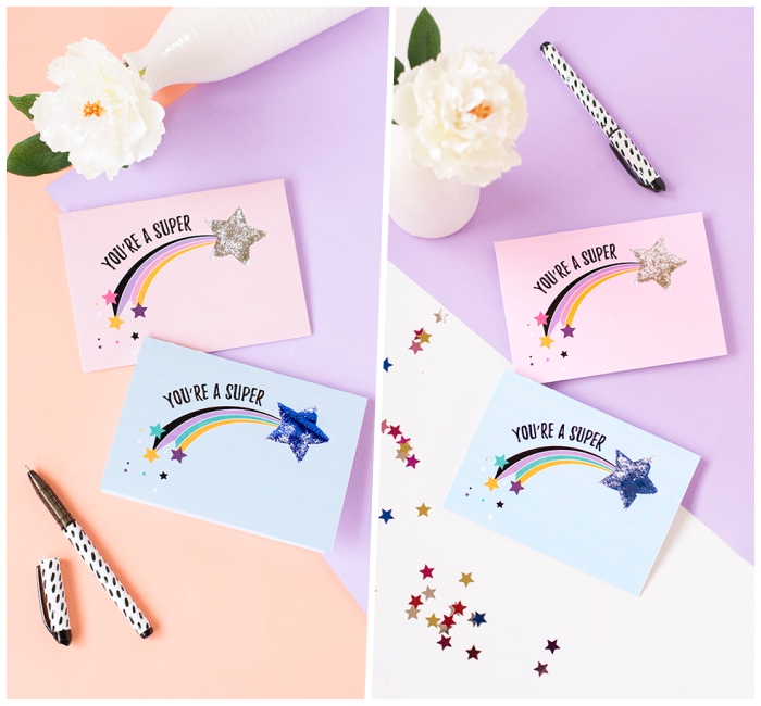pink and blue, you're a super star, greeting card, birthday cards for friends, shooting stars, white flower