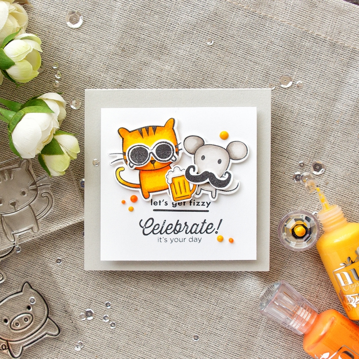birthday cards for kids, cat and mouse, celebrate it's your day, greeting card, faux white flowers