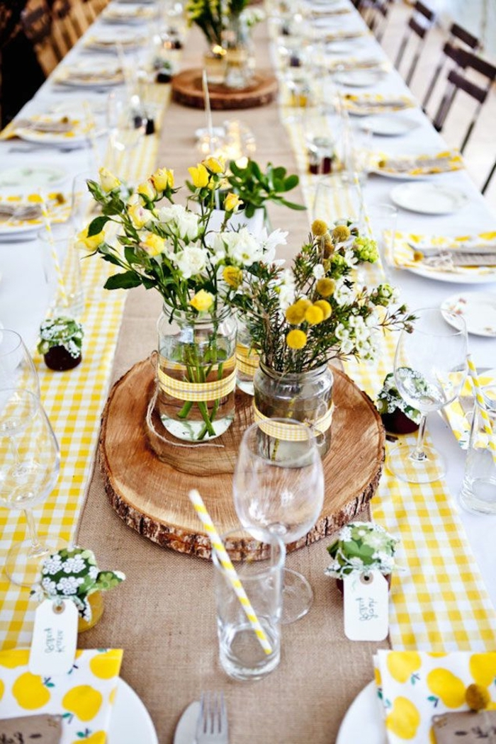table settings, long table, table setting images, wooden block tray, small jars, spring flower bouquets