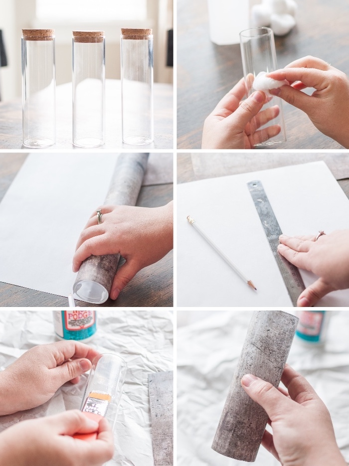 step by step, diy tutorial, table decoration ideas, glass round vases, cement like paper, glued with mod podge