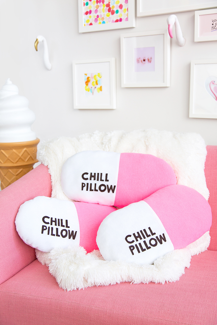 chill pillow, white and pink, arranged on a pink sofa, homemade christmas gifts, white furry blanket