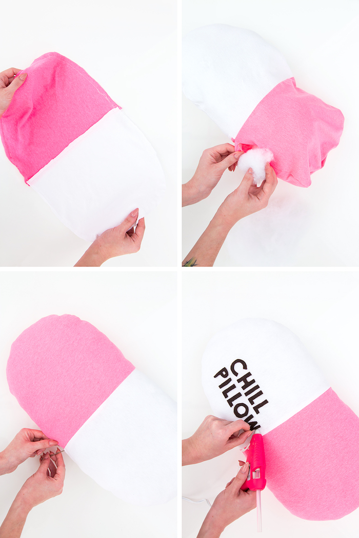 homemade christmas gifts, chill pillow, pink and white, diy tutorial, step by step