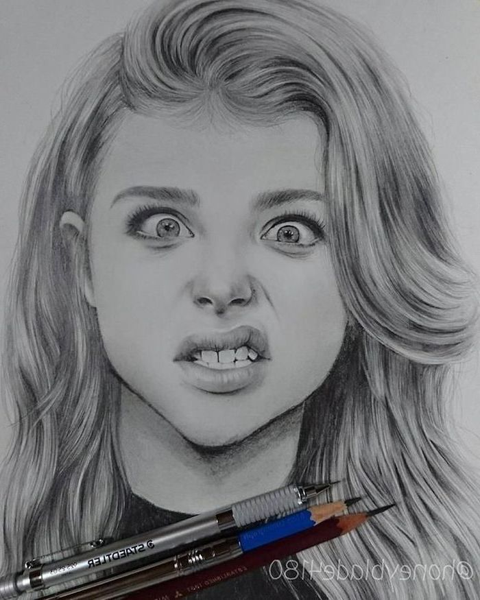 chloe grace moretz inspired, black and white, pencil sketch, easy drawings for beginners, portrait sketch