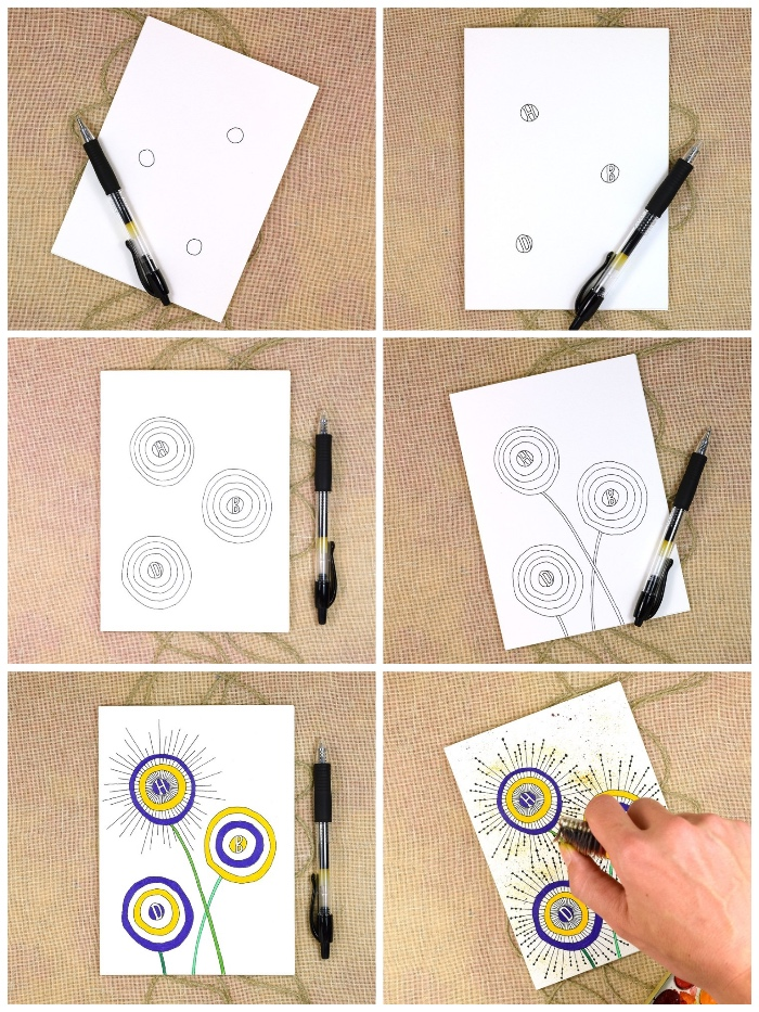 white card stock, yellow and purple circles, birthday greeting cards, step by step, diy tutorial