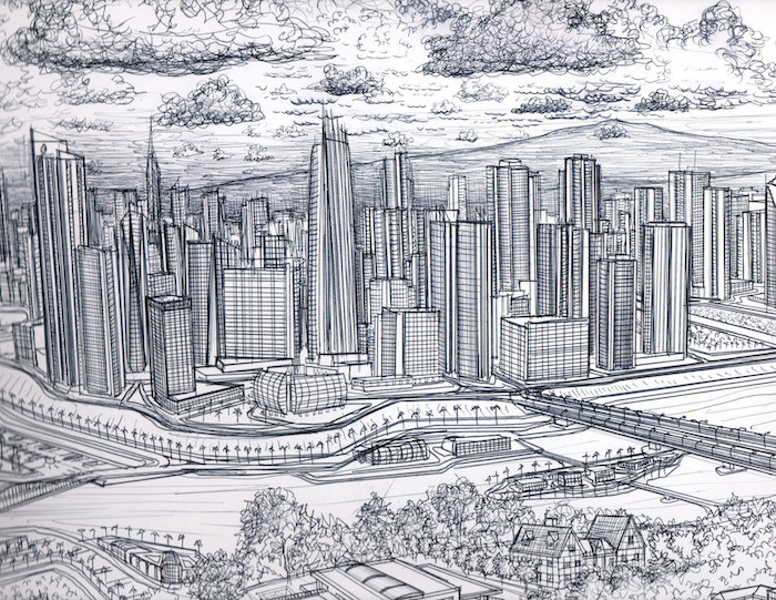 black and white, pencil sketch, easy drawings for beginners, city skyline, large skyscrapers