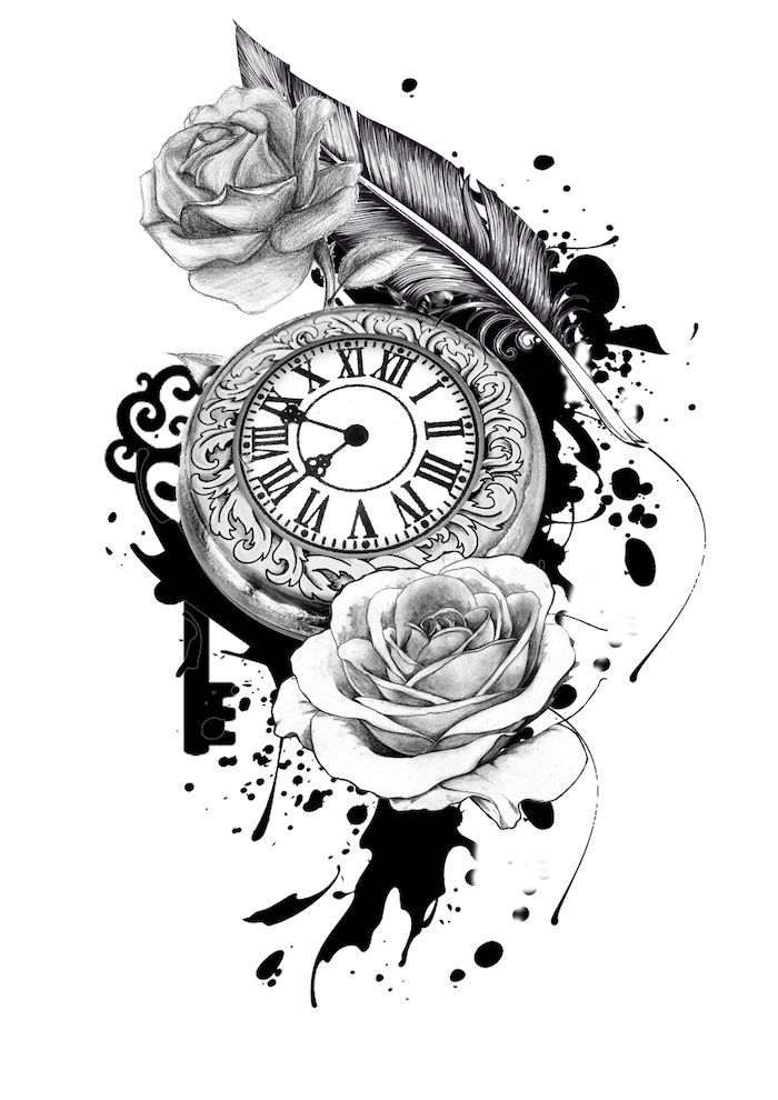 black and white sketch, pocket watch, roses around it, roman numerals, white background, roman numerals birthday tattoos