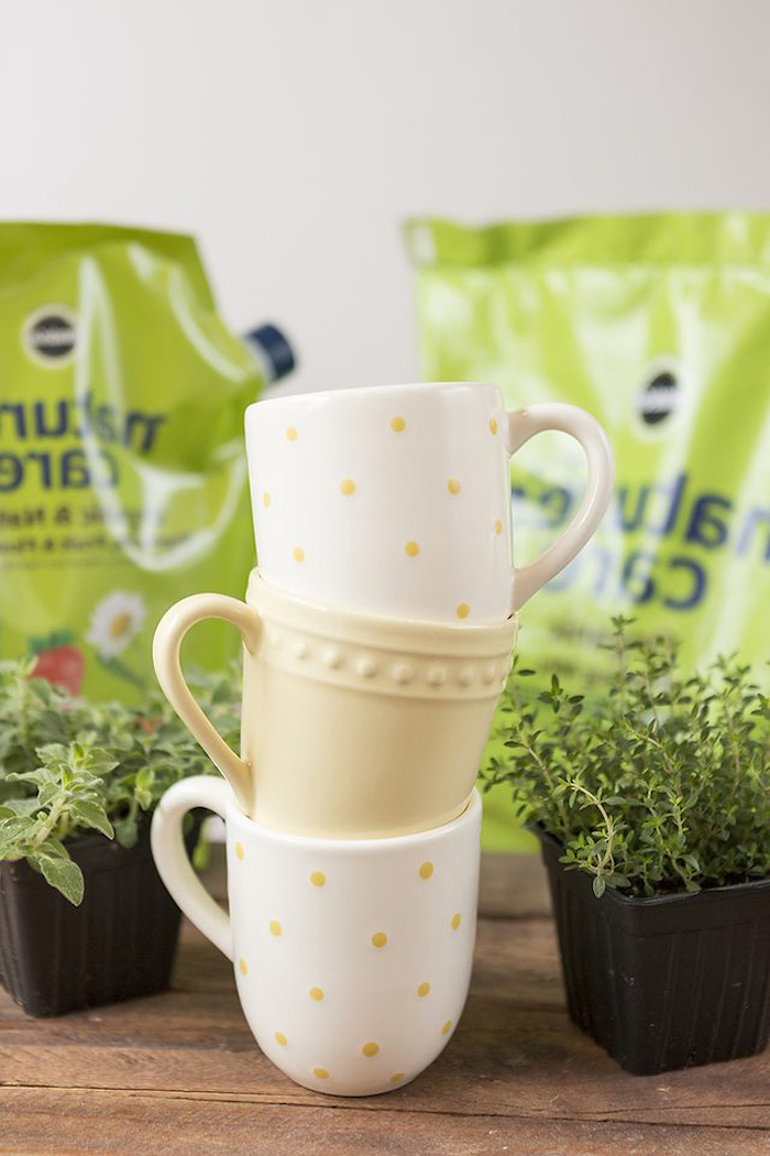housewarming gift ideas, coffee mugs, herb garden, diy tutorial, step by step