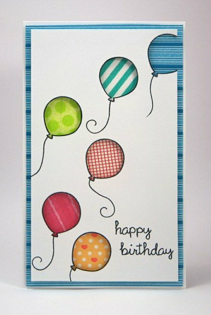 colourful balloons, on white card stock, birthday card design, white background