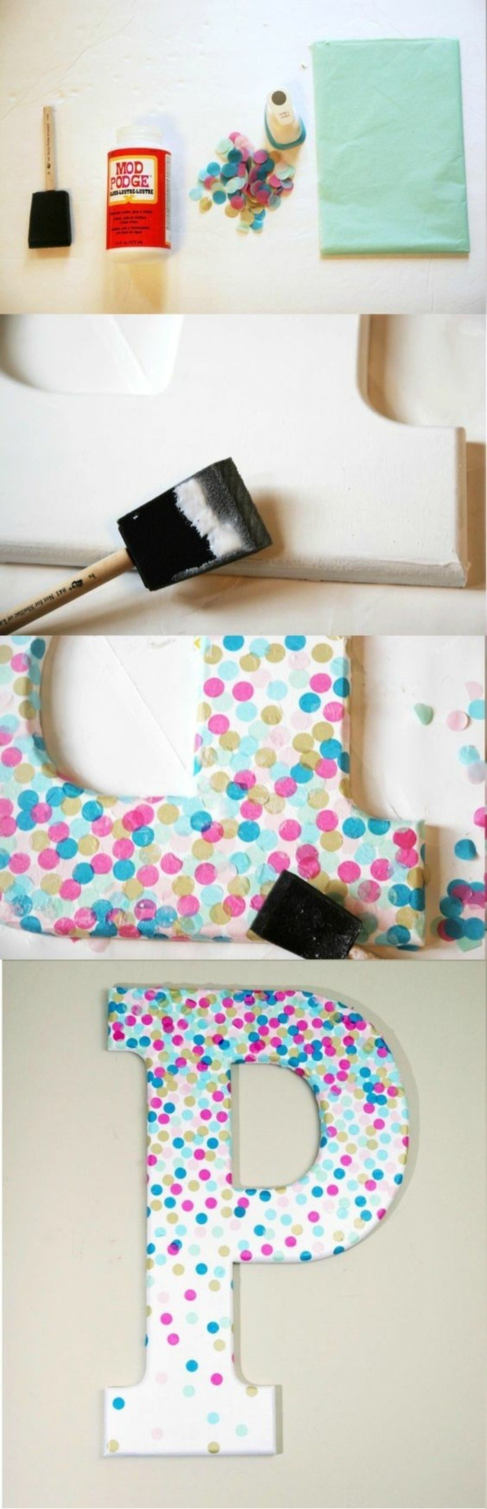 colourful confetti, glued to white carton, in the shape of the letter p, cool art designs, diy tutorial