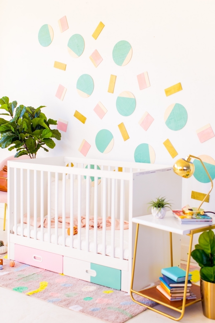 geometrical design, colourful wall decor, bedroom wall decor, over the baby crib, colourful matching carpet