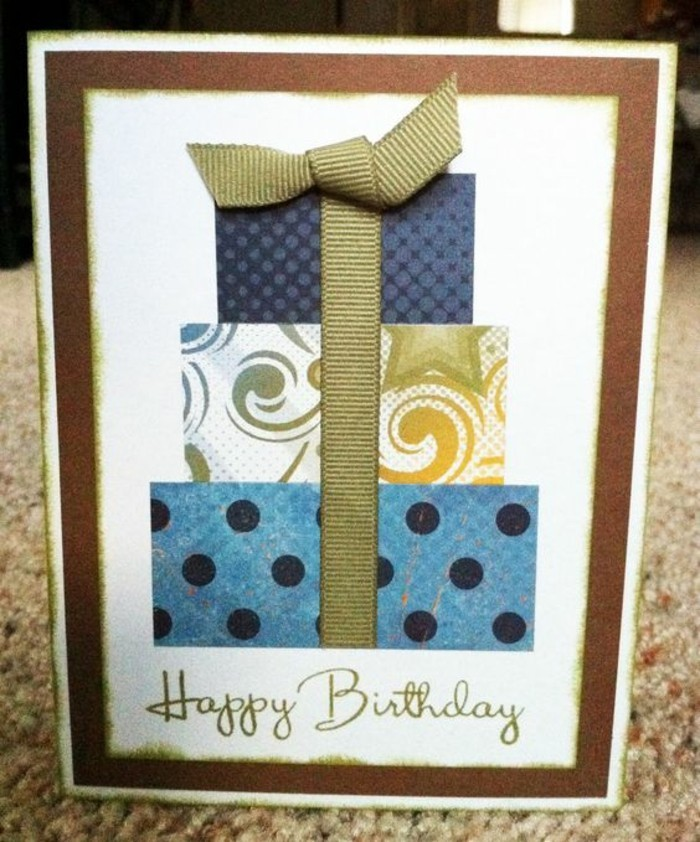 three part gift, green ribbon, white card stock, birthday card design, patterned wrapping paper