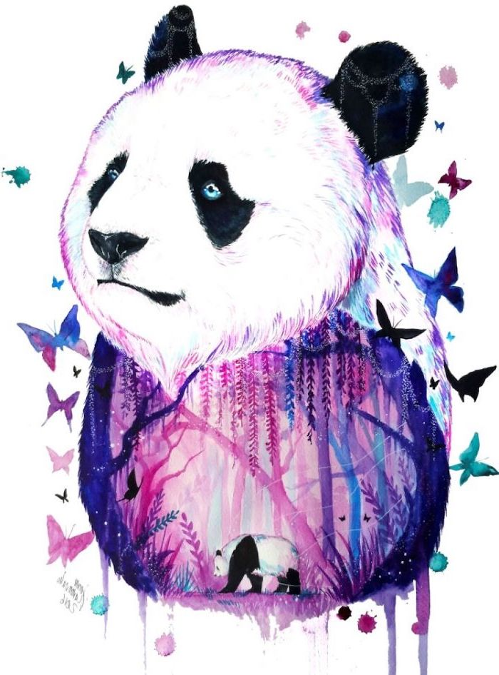 small panda, inside a large panda, watercolour painting, butterflies around, cool things to draw