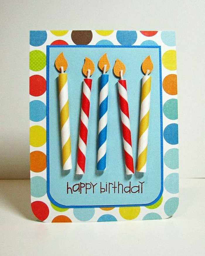 candles made out of paper, colourful card stock, birthday card design, white background