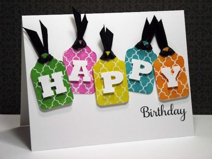 colourful gift tags, black ribbons, funny things to write in a birthday card, white card stock