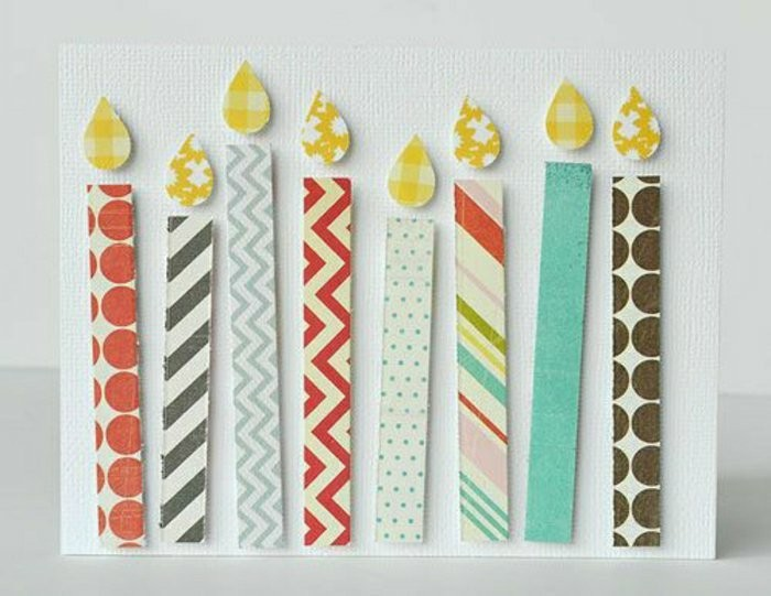 candles made of paper, on a white card stock, patterned paper, funny things to write in a birthday card