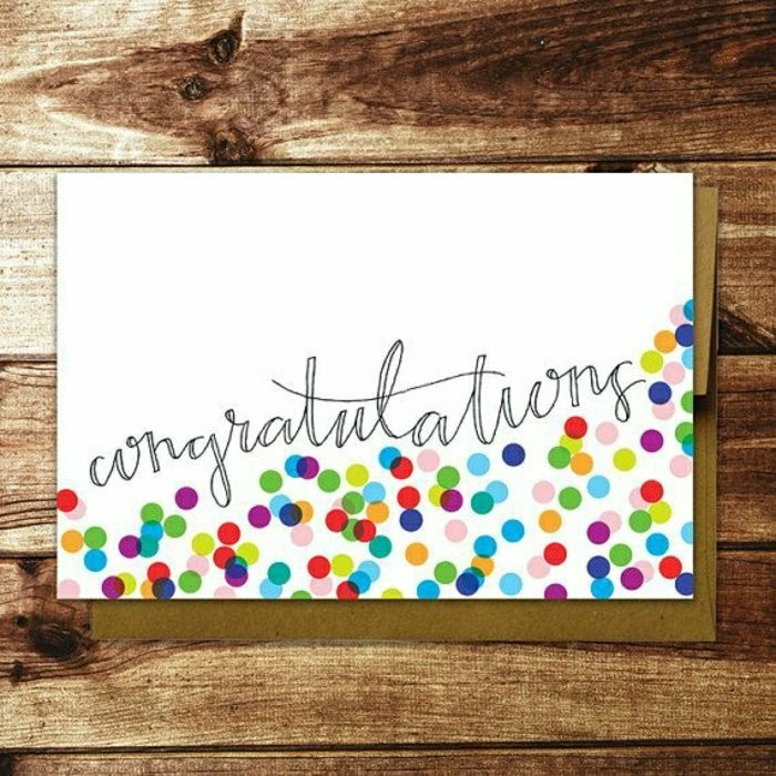 wooden background, funny things to write in a birthday card, colourful dots, on white card stock