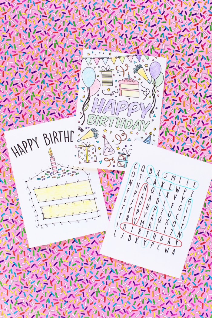 connect the dots, find the words, colouring greeting cards, diy birthday cards, pink sprinkled background