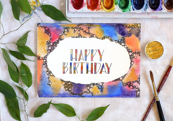 happy birthday, watercolour greeting card, homemade birthday cards, white paint, paintbrushes and paint