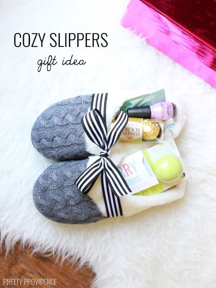 housewarming ideas, cozy slippers, gift idea, filled with chocolates, lip balm, nail polish, face masks