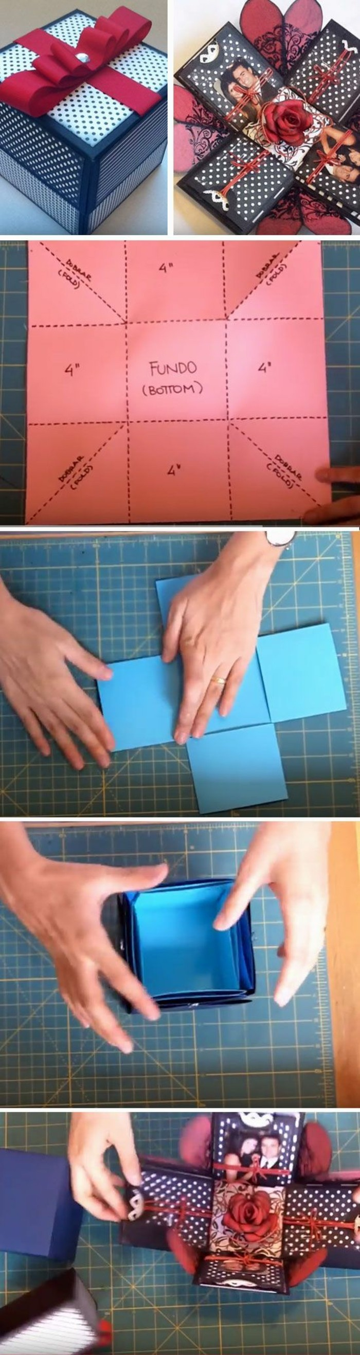photo box, step by step, diy tutorial, homemade gift ideas, side by side pictures, large red bow