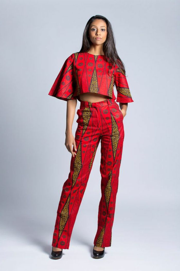 printed crop top, long trousers, african print fabric, black high heels, white background