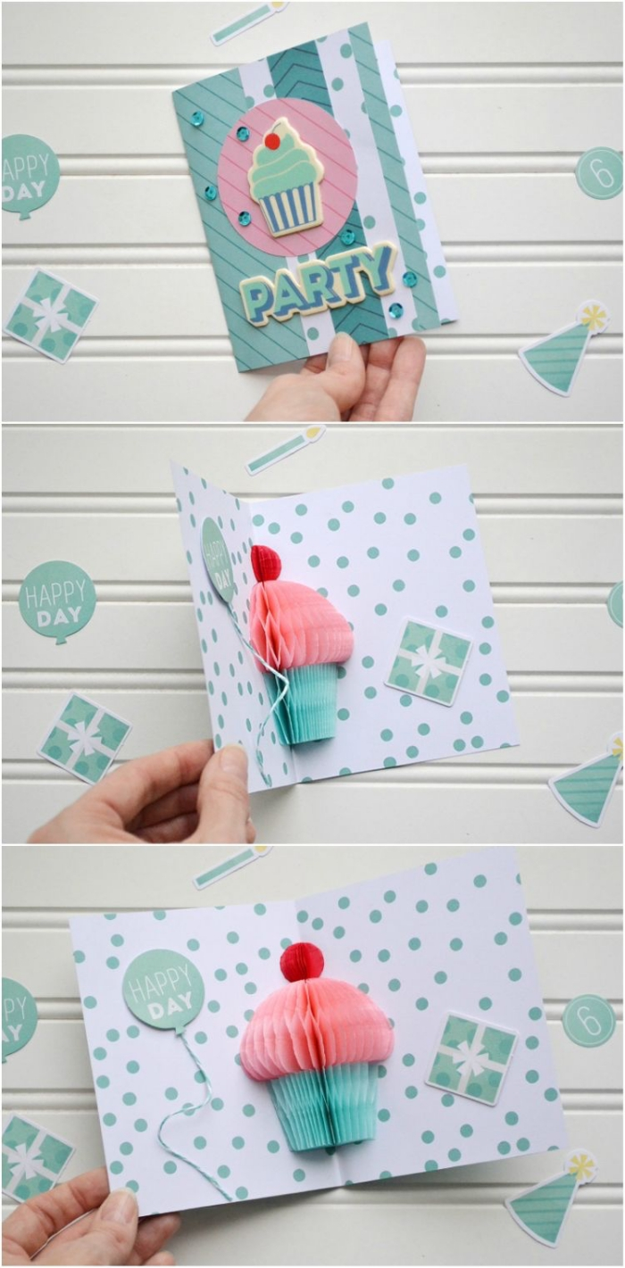 pop up greeting card, blue and pink cupcake, made out of crepe paper, how to make a birthday card