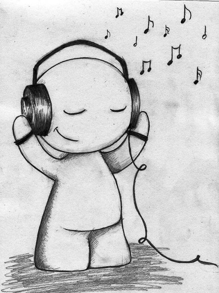 cute creature, listening to music, black and white, pencil sketch, what to draw when bored, cool things to draw for beginners
