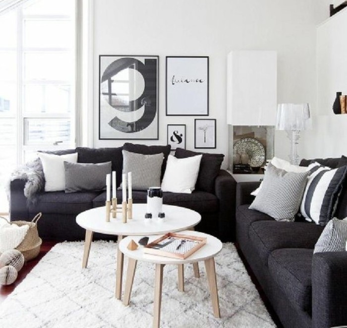 framed hanging art, white wooden coffee tables, grey sofas, best color for living room walls, white carpet