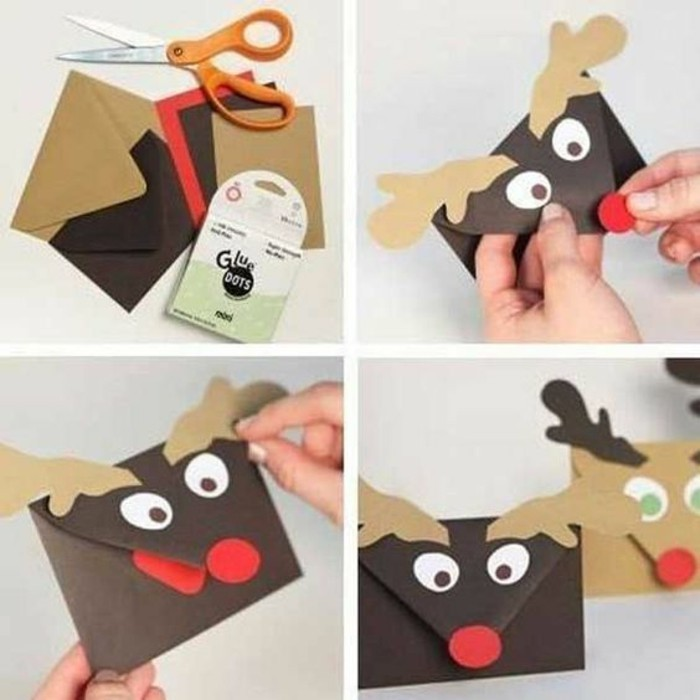 rudolf the red nosed reindeer, letter envelope, diy tutorial, step by step, homemade gift ideas