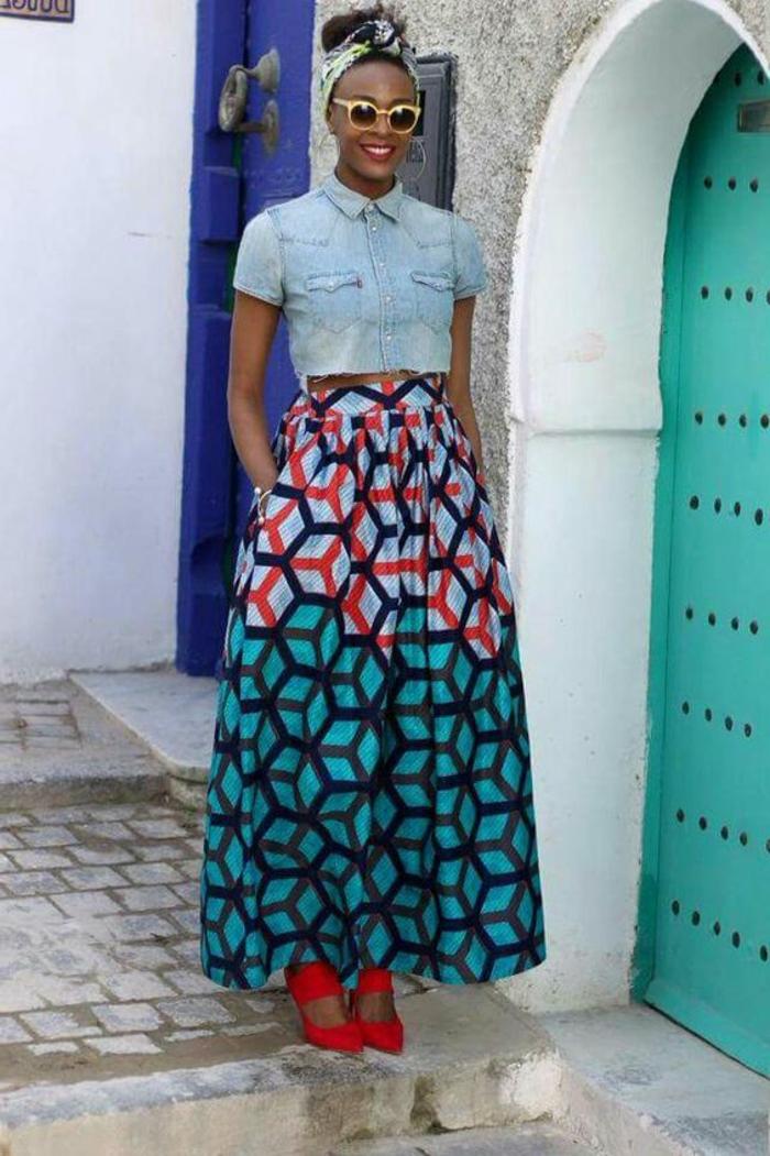 denim shirt, yellow sunglasses, long skirt, african print fabric, red high heels, printed bandana