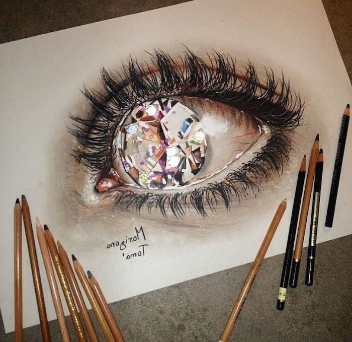large diamond, inside an eye, cool easy drawings, 3d art, coloured pencils, white background