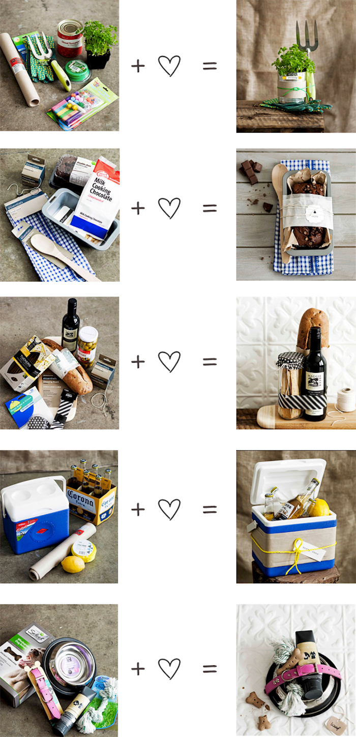 different gift basket ideas, good housewarming gifts, side by side photos, ingredients and result