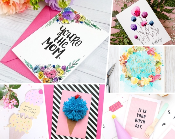 side by side photos, photo collage, homemade birthday cards, white wooden table, watercolour paint