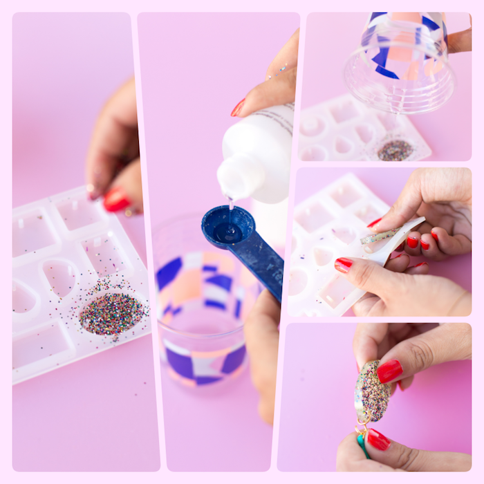 colourful glitter, creative gift ideas, step by step, diy tutorial, pink background, side by side pictures