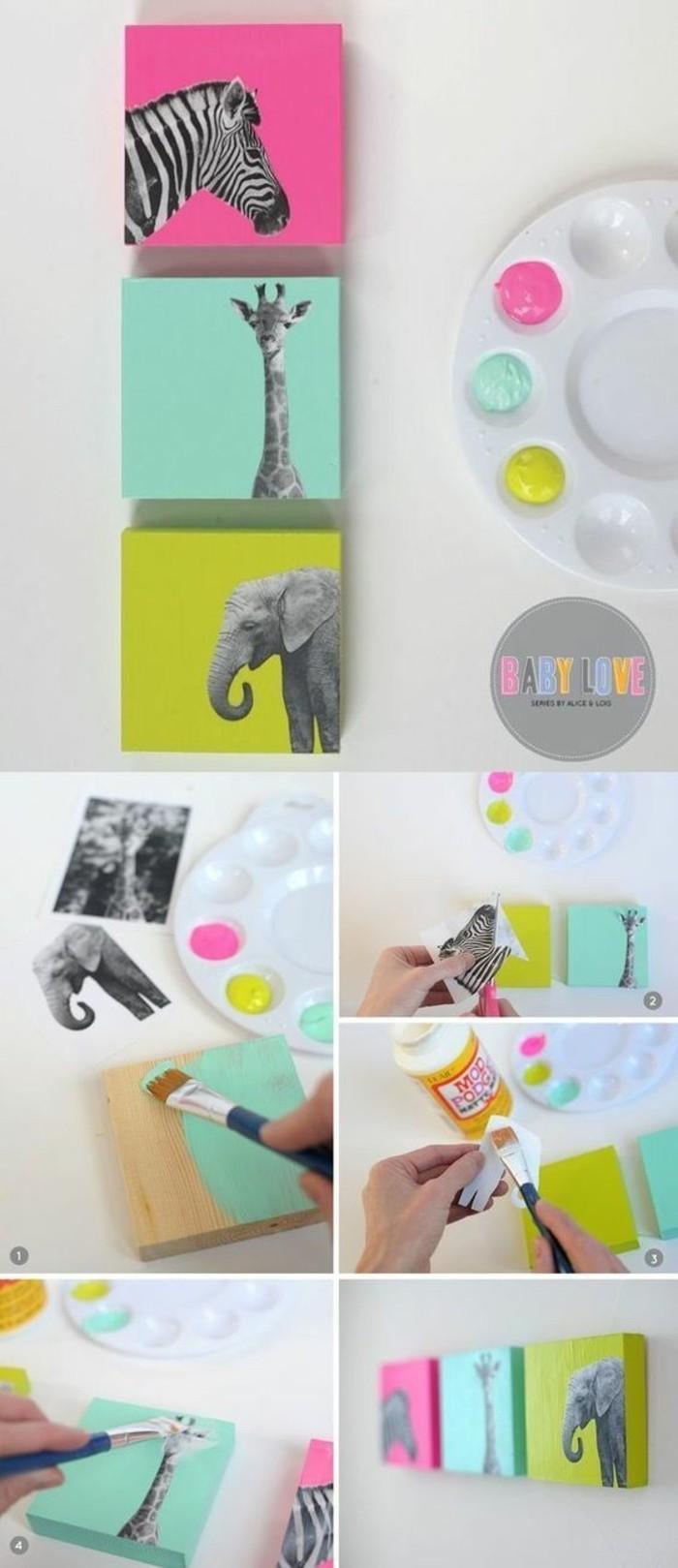 step by step, diy tutorial, painted wooden blocks, glued animal photos, girl room decor ideas