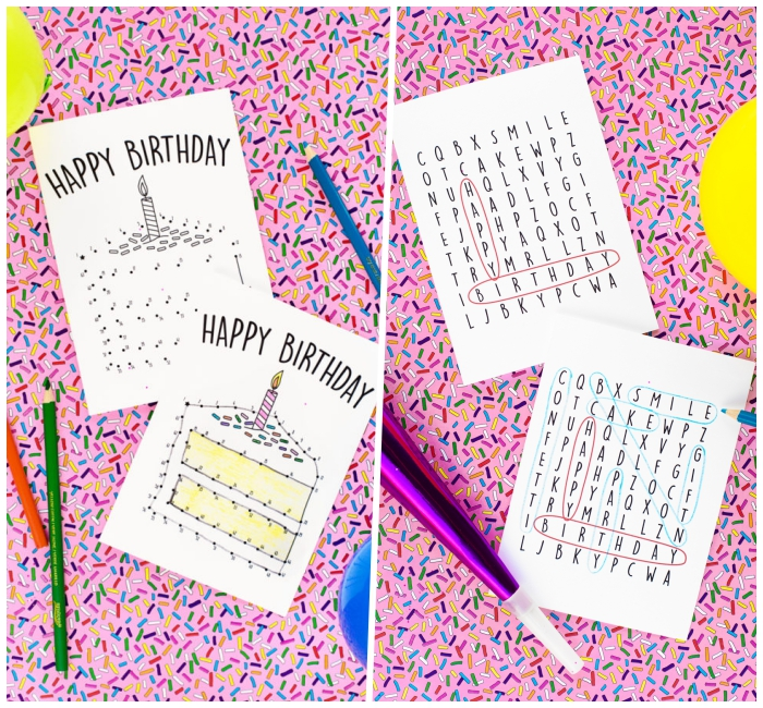 funny birthday cards, connect the dots, find the words, birthday cards with games, yellow balloons