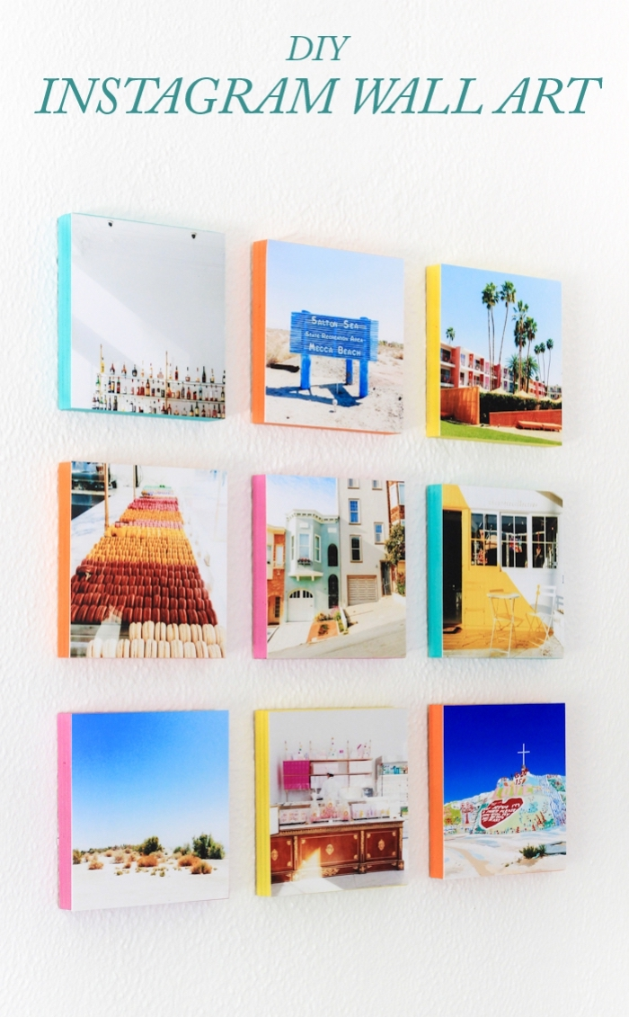 diy instagram wall art, diy wall decor, landscape photos, glued to a wooden block, hanging on a wall