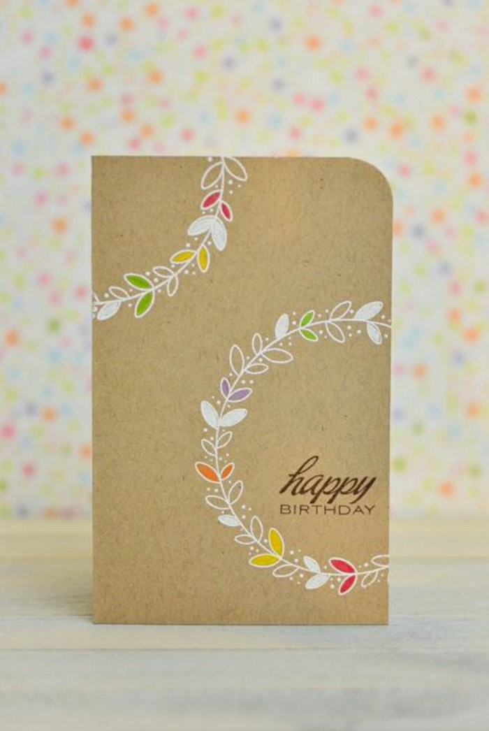 how to make a birthday card, happy birthday inscription, floral wreath, colourful background