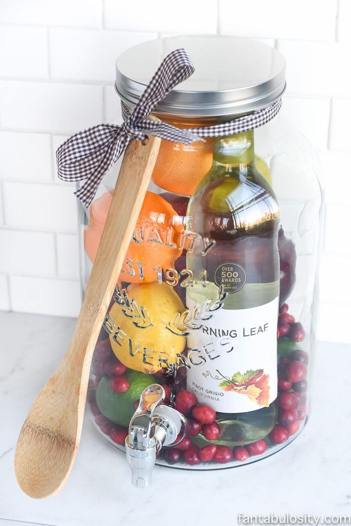 large mason jar, diy sangria, ingredients inside, housewarming gift ideas
