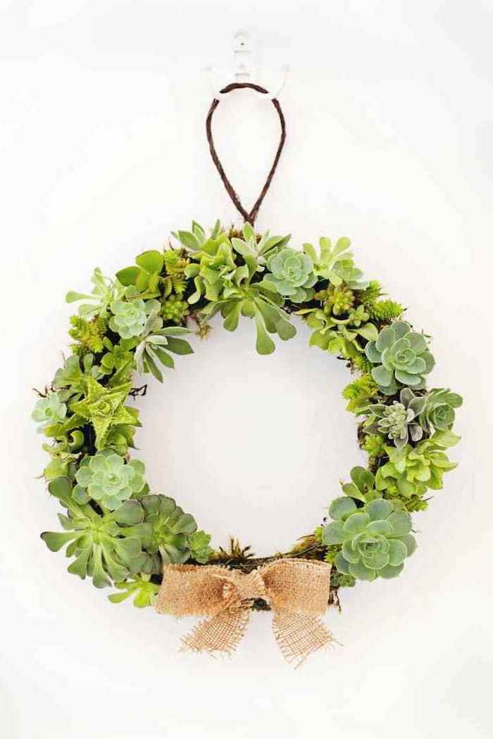 succulents wreath, diy tutorial, step by step, gifts for new homeowners, white backround