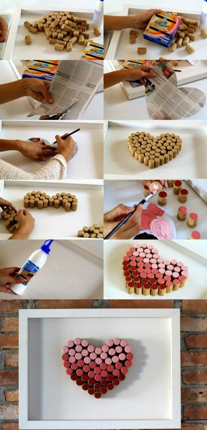 corks forming a heart, painted in pink and red, hanging wall decor, white frame, diy tutorial