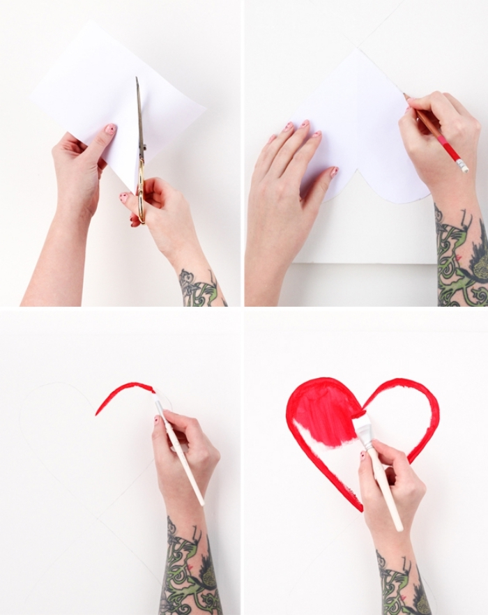 diy tutorial, diy wall art, step by step, woman drawing a heart, on a piece of paper, painting it red